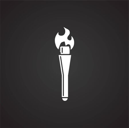 Torch icon on background for graphic and web design. Simple illustration. Internet concept symbol for website button or mobile app Banco de Imagens - 142869402