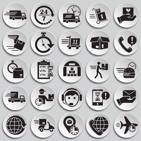 Delivery related icons set on plates background for graphic and web design. Simple vector sign. Internet concept symbol for website button or mobile app