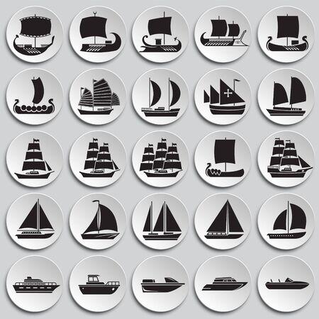 Ship icons set on plates background for graphic and web design. Simple vector sign. Internet concept symbol for website button or mobile app Ilustração