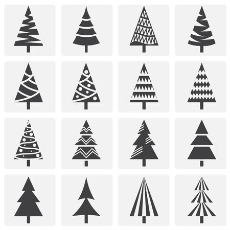Christmas tree icons set on background for graphic and web design. Simple illustration. Internet concept symbol for website button or mobile app  イラスト・ベクター素材
