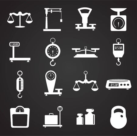 Scale related icons set on background for graphic and web design. Simple illustration. Internet concept symbol for website button or mobile app Иллюстрация