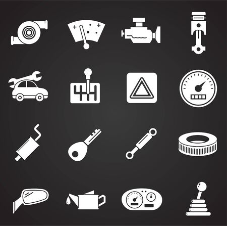 Car parts related icons set on background for graphic and web design. Simple illustration. Internet concept symbol for website button or mobile app
