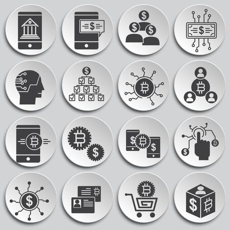 Financial technologies related icons set on background for graphic and web design. Simple illustration. Internet concept symbol for website button or mobile app 向量圖像