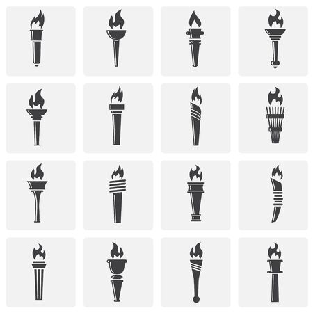 Torch icons set on background for graphic and web design. Simple illustration. Internet concept symbol for website button or mobile app