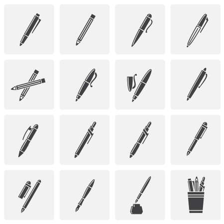Pens related icons set on background for graphic and web design. Simple illustration. Internet concept symbol for website button or mobile app