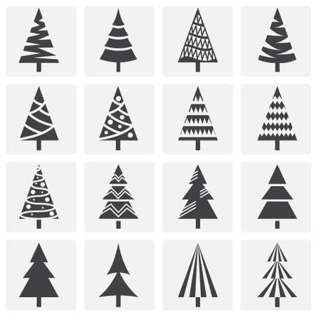 Christmas tree icons set on background for graphic and web design. Simple illustration. Internet concept symbol for website button or mobile app Illustration