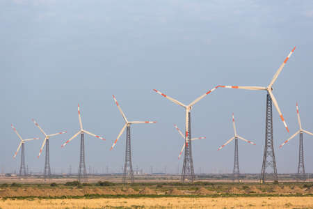 Wind generators in the background in Azerbaijan. Nature ecology concept