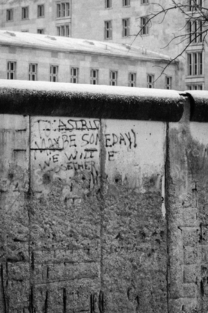poignant: Retro view of an existing section of the Berlin wall with the poignant message,