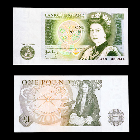 isaac newton: Full front and back detail of an old UK sterling £1  one pound  note   This note is no longer legal tender or in circulation