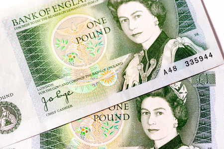 Detail of an old UK sterling £1  one pound  note   This note is no longer legal tender or in circulation  photo
