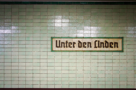 u bahn: The original signage for the Berlin station now known as Brandenburger Tor in the central Mitte district of Berlin