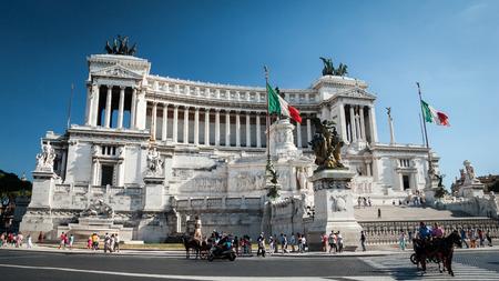 emmanuel: Rome, Italy - 5 August, 2005: A low-angle view of the popular Rome landmark, The Monumento Nazionale a Vittorio Emanuele II (The Altare della Patria).