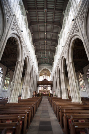 pews: SAFFRON WALDEN, UK - JUNE 8, 2006: A wide-angle view of the interior of St. Mary Editorial