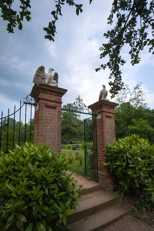 cambridgeshire: An ornate gated entrance to a public park in Cambridgeshire, UK. Editorial