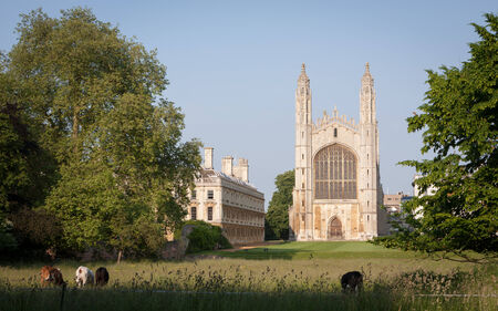 A dusk view across the rural setting of the chapel of Kings College, Cambridge University.