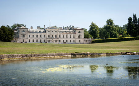 WOBURN, UK - JULY 15, 2006: A view of the front of Woburn Abbey, a country house to the Duke of Bedford originally dating back to 1145. Editorial