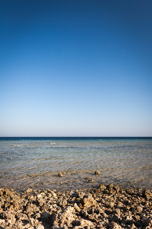 A rocky beach of the Red Sea on the Egyptian coast with blue sky copy space. photo