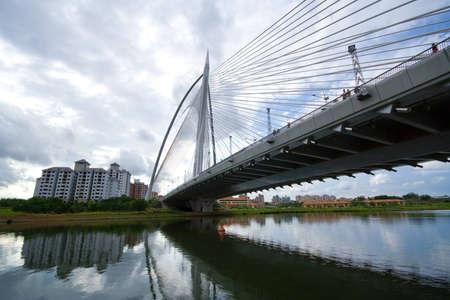 floating bridge: A view of one of the steel bridges in Putrajaya, Malaysia Stock Photo