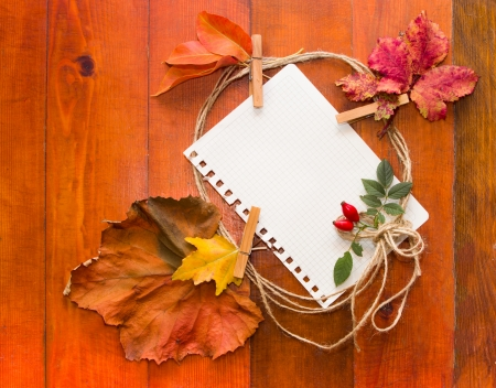 Autumn leaves with white paper for text  Composition on wooden background  photo
