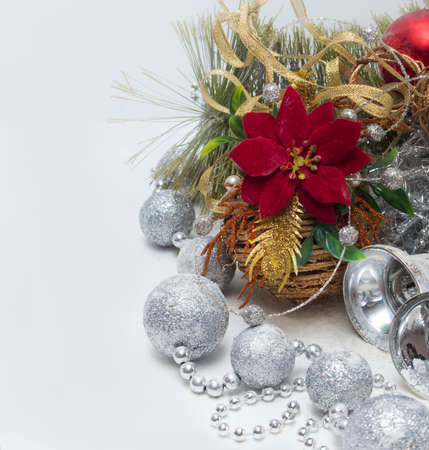 Christmas composition decorated with red flower and   balls photo