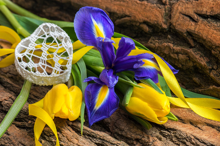 deliberate: Blue iris and yellow tulip flower with decorative heart on wooden background.Soft focus, deliberate slight blurring .