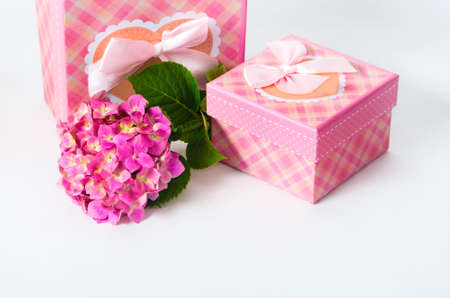 felicitation: card with hydrangea flower and gift box as a present for a holiday