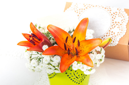orange lily: fresh orange lily flowers in the composition