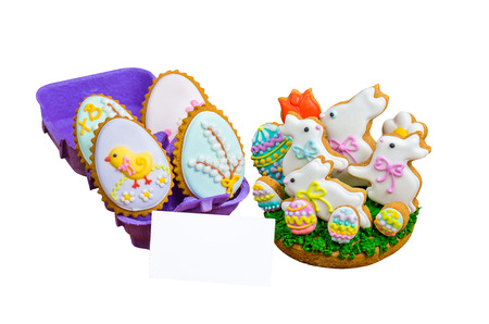 easter cookie: Easter cookie white bunny and colored eggs