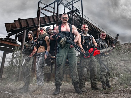 Warriors of the apocalypse armed Stock Photo