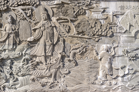 Chinese bas-relief, stone, gray