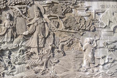 Chinesisches Basrelief, Stein, grau