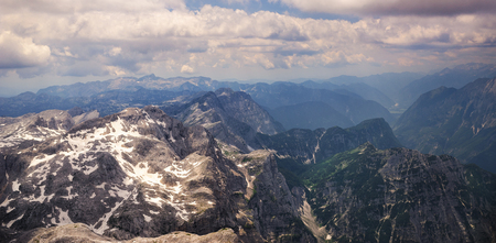 Alps, mountain tops covered with snow Stock Photo