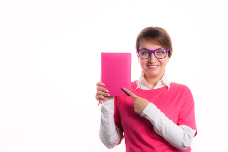 Business woman with a diary show a diary