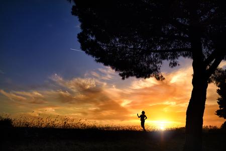 Summer sunset. Man in the sun
