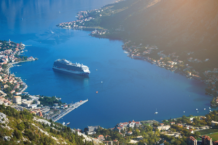 the cruise liner enters the Gulf of Kotor