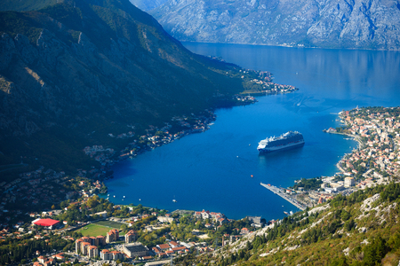the cruise liner enters the bay of Kotor