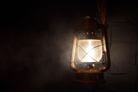 vintage lantern on a dark background Stock Photo