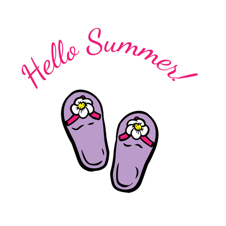 Hello summer. summer footwear. doodle vector illustration