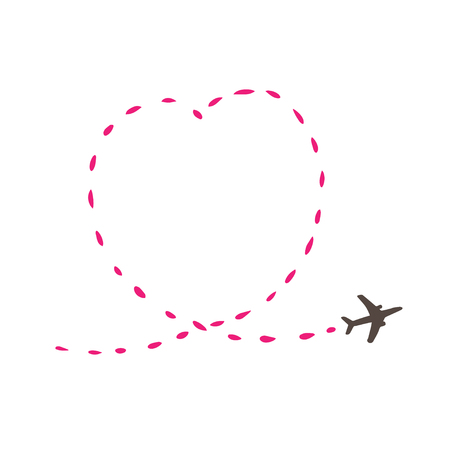 Airplane travel concept. Plane with start point and route dash line on white background. Vector silhouette illustration