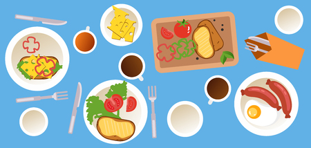 Cooking and food web banner with breakfast icons set on a blue background, vector illustration. Top view of family having breakfast.