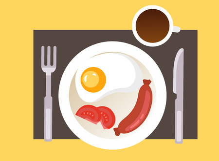 breakfast with fried egg, sausage and a cup of coffee. Vector Illustration