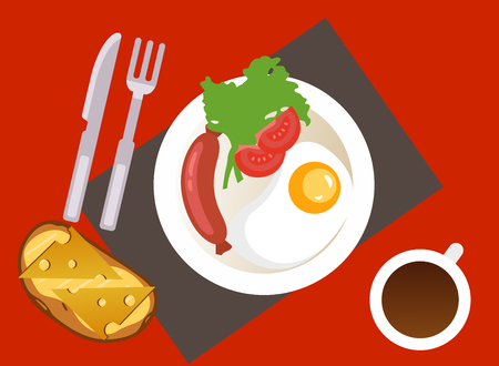 breakfast with fried egg, sausage, toast and a cup of coffee. Vector Illustration