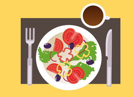 vegetarian breakfast with a cup of coffee. Vector Illustration