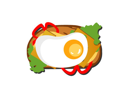toast with fried egg, cheese, salad on a white background. Vector Illustration  イラスト・ベクター素材
