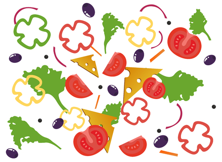 Tomato, cheese, olives, paprika, salad on white background. Vector Illustration