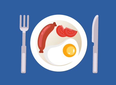 breakfast with fried egg, sausage and red tomato. Vector Illustration