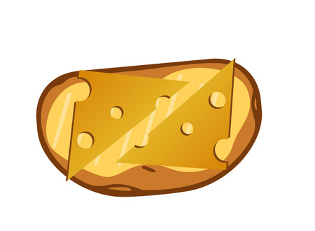 toast with cheese on a white background. Vector Illustration  イラスト・ベクター素材