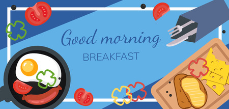 Breakfast poster. Fried eggs with sausage on a blue background. Vector Illustration