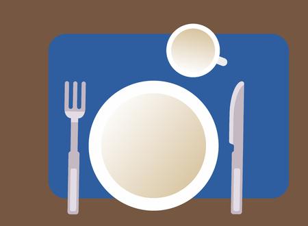 Sketch of plate, knife, fork tea cup. Vector Illustration  イラスト・ベクター素材