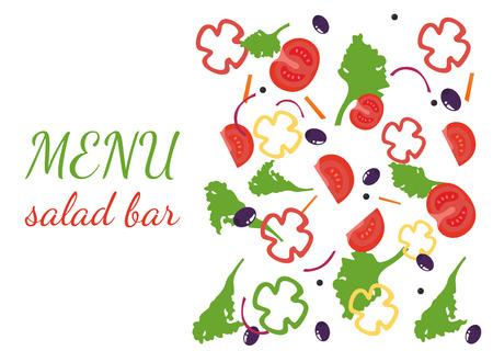 salad bar. fresh vegetables. Vector Illustration